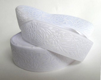 Bridal ribbon 3 yards White on white FLORAL CAMEO embroidered Jacquard trim. 1 1/8 inch wide. 998-E Bridal trim