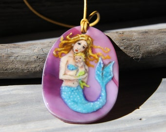 Mother Mermaid and baby  in the water - fused glass pendant