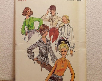 Vintage Butterick Blouse Pattern 4583 Womens Size 12 Vintage 1960's Secretary Blouse Necktie Blouse Retro Top UNCUT Mid Century Top