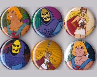 6 Masters of the Universe Buttons