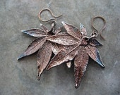 Real Leaf Earrings - Oxidized Sterling Silver - Japanese Maple