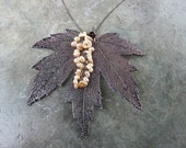 Real Leaf Necklace Pendant - Oxidized Sterling Silver - Silver Maple Leaf - Freshwater Pearls