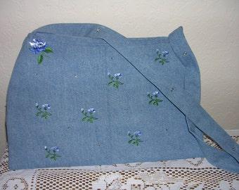 Light Denim Embroidered Purse