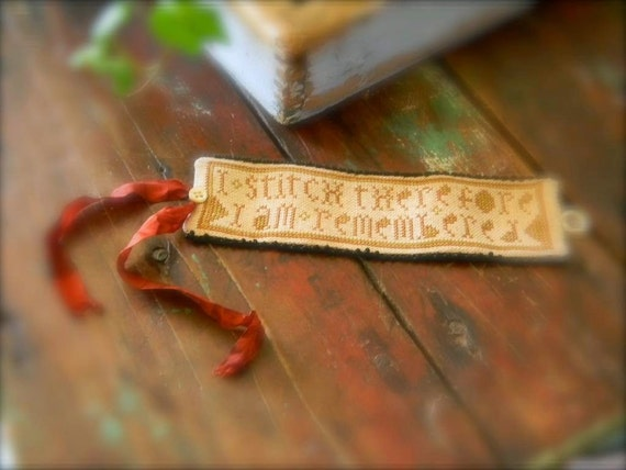 I Stitch - cross stitch bracelet - Paper PATTERN - from Notforgotten Farm