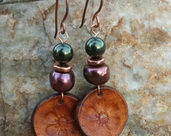 Copper and Freshwater Pearl Flower Blossom Earrings - Hand Tooled Leather Earrings - Leather Discs - Western Jewelry - Cowgirl Jewelry