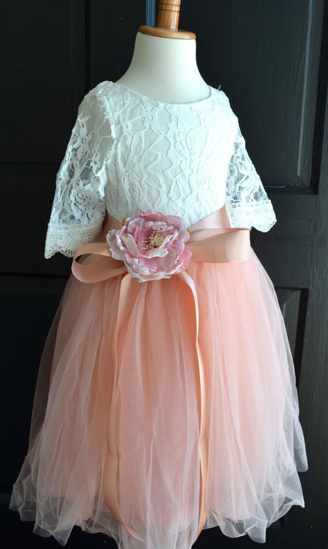 Flower Girl Coral Tutu Dress Blush Pink Tulle Skirt Lace