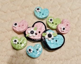 Free Ship Pastel Checker Heart Handmade Polymer Clay Button Hair Bow Center Embellishment