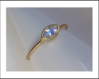 Moonstone 14k Gold Faceted Marquise Ring