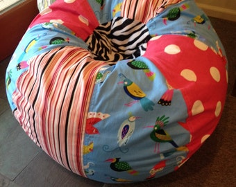 Funky Birds Bean Bag Chair With Hot Pink Polka Dots Stripes And Zebra Unfilled Cover