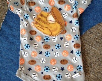 All Star Baseball Mitt and multi sport balls baby onesie with football soccer and baseball print size 3 to 6 months
