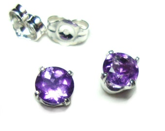 Amethyst 5mm sterling post earrings