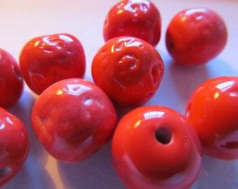 Vintage Glass Beads (4) Handmade Dark Coral Japanese Beads