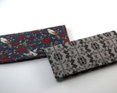 RESERVED listing for Laura - Fabric DUPLICATE Checkbook Cover, Side Loading Checkbook Wallet, chambray birds black