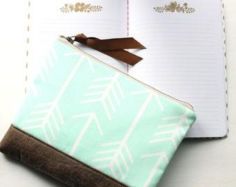 Mint Clutch, Arrow Bag with Vegan Leather Accent