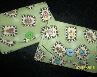 Mini Wallet/Credit Card Holder, Green w/ Birds, Flowers, Hearts