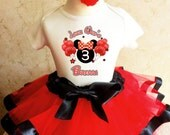 Minnie Mouse Red Black Ears Balloons 3rd Third Girl Birthday Tutu Outfit Custom Personalized Name Age Party Shirt Set