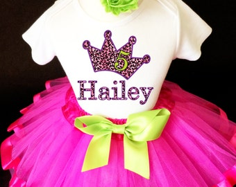 Princess Crown Cheetah Print Spots Pink Green Purple 5th Fifth Girl Birthday Tutu Outfit Custom Personalized Name Age Party Shirt Set