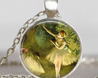 Ballerina necklace , Ballerina dance jewelry , Emerald green ballet dance jewelry ,Glass dome art pendant with gift bag