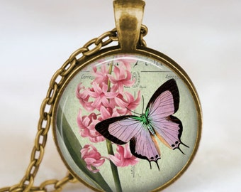 Pink Butterfly pendant , butterfly lavender necklace , butterfly jewelry ,spring summer jewelry, butterfly charm necklace