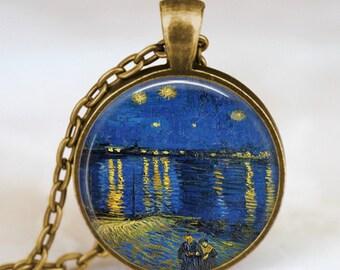 Van Gogh starry night at the lake necklace , van gogh lake necklace , Van Gogh starry lake pendant, Van Gogh jewelry, vintage van gogh art