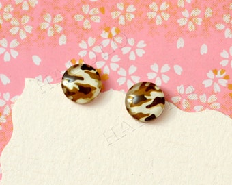 Sale - 10pcs handmade camouflage clear glass dome cabochons 12mm (12-1133)