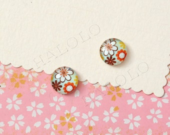 Sale - 10pcs handmade  flowers clear glass dome cabochons 12mm (12-1134)