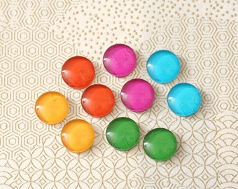 10 pcs handmade assorted vivid colors glass cabochons 12mm (12-0235)