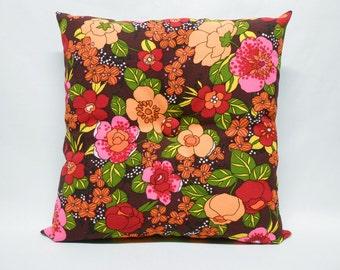 "Flower Power Home Decor Pillow Vintage 1970's Fabric 15"" OOAK"