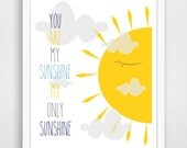Kids Wall Art Print, Nursery Art, Children Wall Art. You Are My Sunshine / When Skies Are Gray SET... print by Finny and Zook