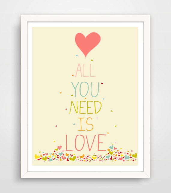 All You Need Is Love Confetti Hearts Pink Typography Nursery Wall Art Print