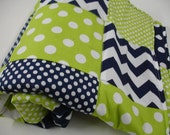 Chevrons and Dots in Lime and Navy Minky Patchwork Blanket You Choose Size and Minky Color MADE TO ORDER No Batting