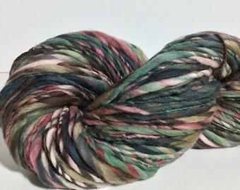 Handspun Yarn - USA Merino Wool, Bulky Weight - 152 yards of Up the Garden Path