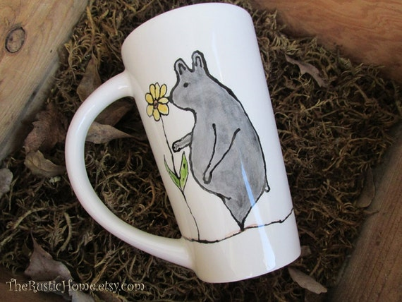 Bear lover tall ceramic pottery mug coffee mug latte sunflowers made to order 16 ounce mug tea black or brown bear