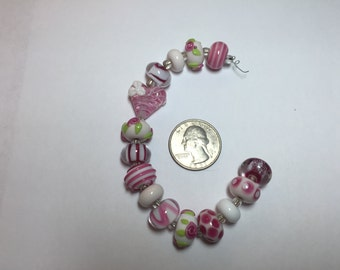 Lampwork Encased Beads Pink White  SET