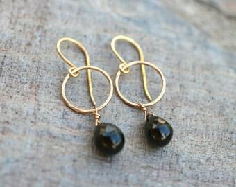 Black Spinel 14KT Gold Filled Earrings