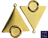 1 Loop Gold Plated Triangle Drops Charms with 7mm Setting 24x22mm (6) mtl066J