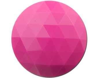 Vintage Pink Faceted Acrylic Cabochons 30mm cab825C