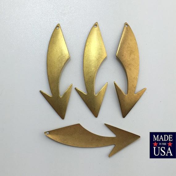 Raw Brass Shooting Arrow Left Right Stamping Pendants Drops 47x17mm (4) mtl019