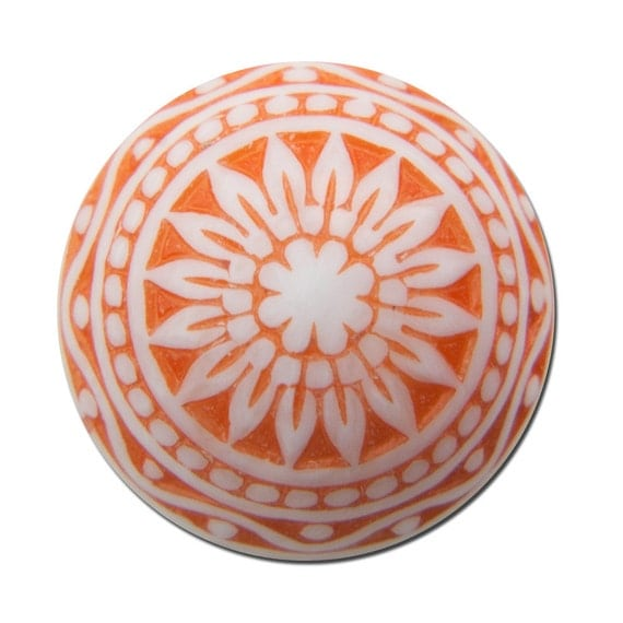 Vintage Etched Mosaic Orange and White Cabochons 14mm cab713B