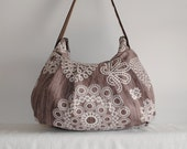 Pleated Bag // Shoulder Purse - Knots and Loops in Bark
