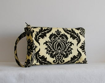 Square Wristlet  Zipper Pouch - Damask in Cavern