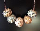 OOAK Hollow Bead Glass Lampwork Necklace Boho Choker Artistic Statement