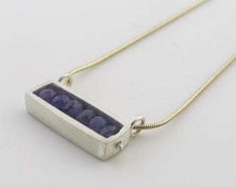 Horizontal Rectangular Sterling Necklace with Tanzanite - N0172
