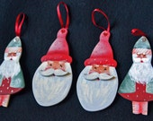 LOT of 4 SANTA Wood Ornaments ~ 2 each of 2 Designs = 4  ~ hand made and painted in U.S.A.