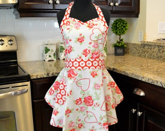 SweetHeart Bib Apron - Sassy Apron - Fancy Apron - Retro Apron - in Valentine Rose and Cameo Hearts