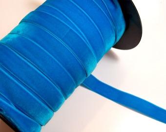 Blue Velvet Ribbon, Kingfisher Blue Velvet Ribbon 5/8 inch wide x 3 yards, Made in England
