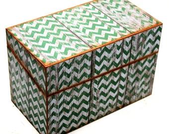 Bridal Shower Recipe Box Wood Faux Distressed Dark Green Chevron Fits 4x6 Recipe Cards