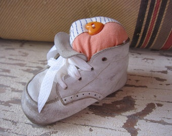 Baby Shoe Pincushion, Makedo, Primitive Pincushion, Primitive, Pinkeep, Orange, Upcycled, Sewing, tin cup, Shabby, Cottage Chic, ofg team
