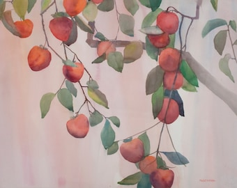 PERSIMMONS Watercolor Painting