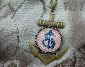 Antique Brass Anchor Cameo Necklace - Red Sea